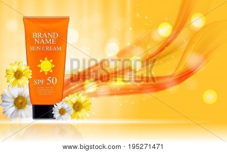 Sun Care Cream Bottle, Tube with Flowers Chamomile Template for Ads, Announcement Sale, Promotion New Product or Magazine Background. 3D Realistic Vector Iillustration. EPS10