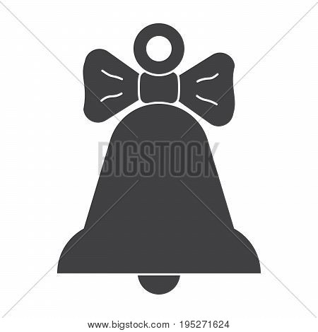 Yellow bell with bow, black vector silhouette