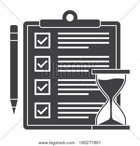 Exam or test icon with document, pencil and hourglass