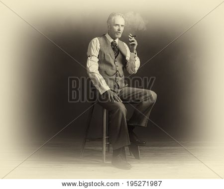 Antique Plate Photo Of Cigar Smoking Vintage 1920S Man Wearing Suit Sitting On Wooden Stool.