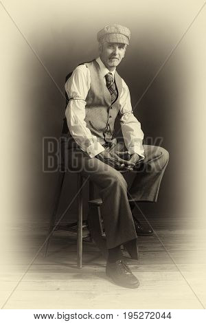 Antique Plate Photo Of Confident Vintage 1920S Fashion Man Sitting On Wooden Chair.