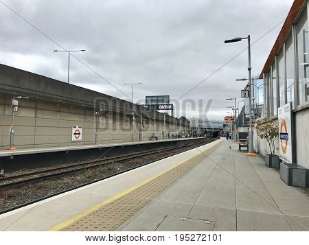 SHEPHERDS BUSH - JUNE 28, 2017: The Overground station platform at Shepherds Bush, West London, UK.