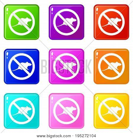 No rats sign icons of 9 color set isolated vector illustration