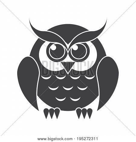 Education concept with black owl, vector silhouette