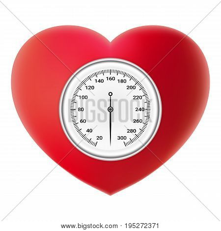 Arterial Blood Pressure Checking Concept. Tonometer On Red Heart Isolated On A White Background. Realistic Vector Illustration. Healthcare