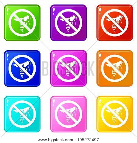 No wasp sign icons of 9 color set isolated vector illustration