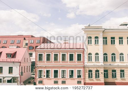 street part of the city Minsk with houses