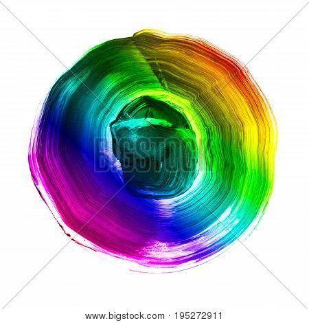 Rainbow Textured Acrylic Circle. Watercolour Stain On White Background.