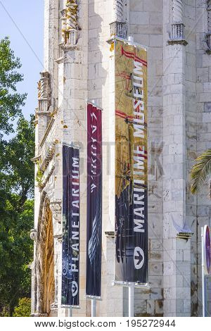 Flags at the Martime Museum in Lisbon Belem - LISBON, PORTUGAL 2017