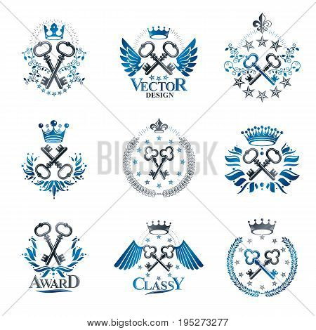 Ancient Keys emblems set. Heraldic Coat of Arms decorative logo isolated vector illustrations collection.