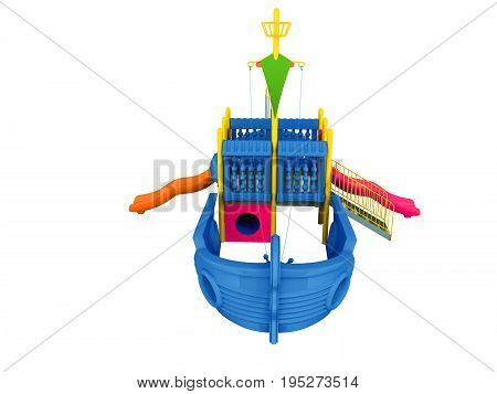 Playground For Children Ship Blue Front 3D Rendering On A White Background No Shadow