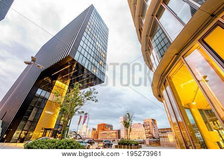 DUSSELDORF, GERMANY - July 04, 2017: Exterior of the luxury Hyatt regency hotel. Hyatt Hotels Corporation is an American international company and operator of hotels