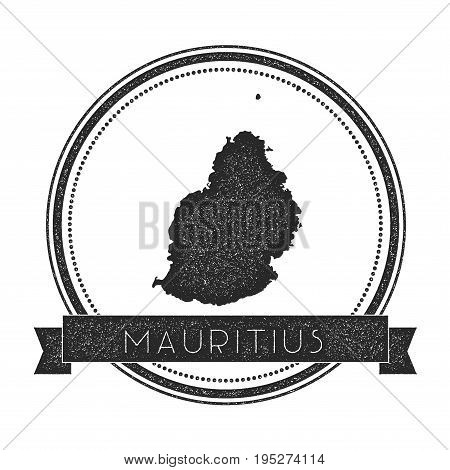 Mauritius Map Stamp. Retro Distressed Insignia. Hipster Round Badge With Text Banner. Island Vector