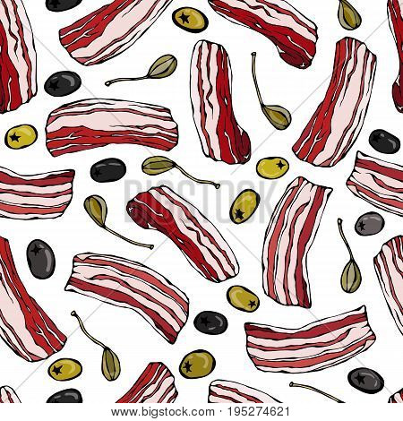 Pork Bacon, Olives and Capers Seamless. Isolated On a White Background. Food Pattern. Realistic Doodle Cartoon Style Hand Drawn Sketch Vector Illustration.