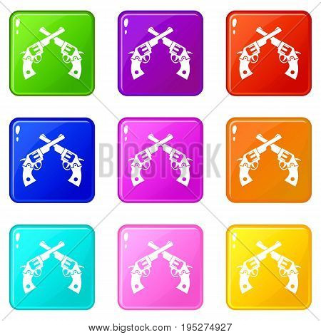 Revolvers icons of 9 color set isolated vector illustration