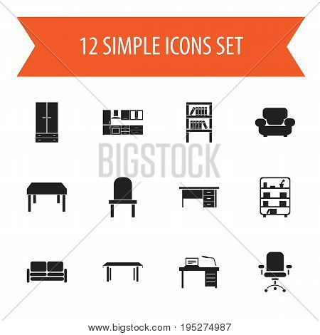 Set Of 12 Editable Interior Icons. Includes Symbols Such As Trestle, Stillage, Bookshelf And More. Can Be Used For Web, Mobile, UI And Infographic Design.