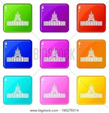 Capitol icons of 9 color set isolated vector illustration