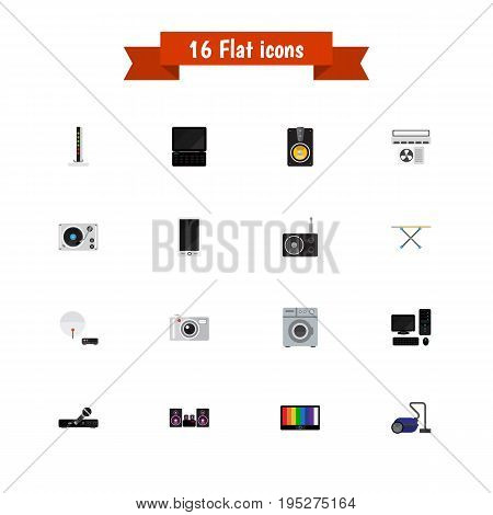 Set Of 16 Editable Technology Icons. Includes Symbols Such As Megaphone, Turntable, Antenna And More. Can Be Used For Web, Mobile, UI And Infographic Design.