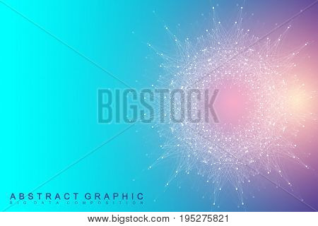 Fractal element with compounds lines and dots. Big data complex. Graphic abstract background communication. Minimal array Big data. Digital data visualization. Vector illustration
