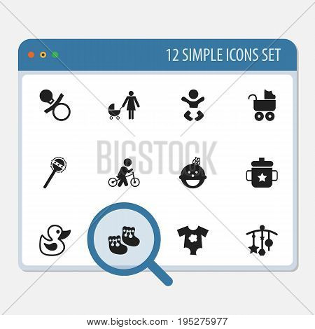 Set Of 12 Editable Child Icons. Includes Symbols Such As Daughter, Maraca, Perambulator And More. Can Be Used For Web, Mobile, UI And Infographic Design.