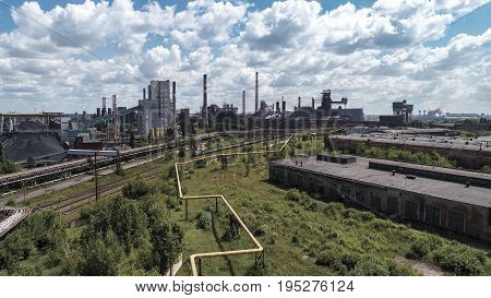 Lipetsk, Russia - July 11. 2017: Metallurgical plant NLMK Group. General view from the height