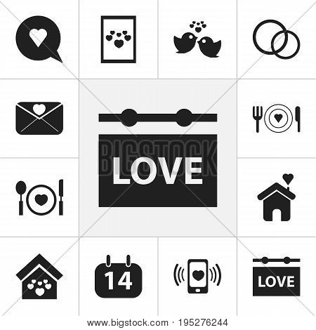 Set Of 12 Editable Amour Icons. Includes Symbols Such As Cutlery, Affection Letter, Sparrow And More. Can Be Used For Web, Mobile, UI And Infographic Design.