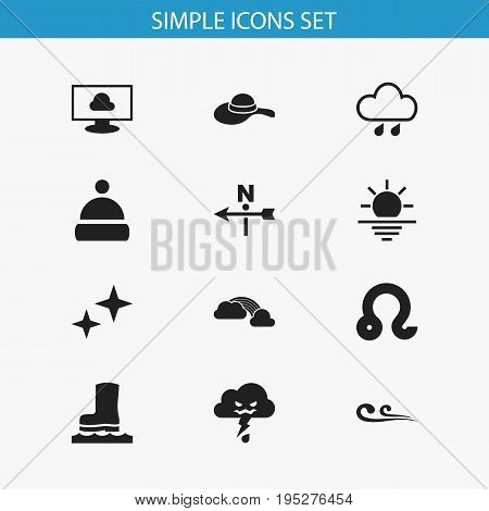 Set Of 12 Editable Climate Icons. Includes Symbols Such As Weather After Rain, Headwear, Thunderstorm And More. Can Be Used For Web, Mobile, UI And Infographic Design.