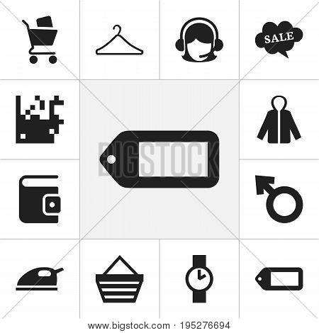 Set Of 12 Editable Trade Icons. Includes Symbols Such As Billfold, Wheelbarrow, Trading Purse And More. Can Be Used For Web, Mobile, UI And Infographic Design.