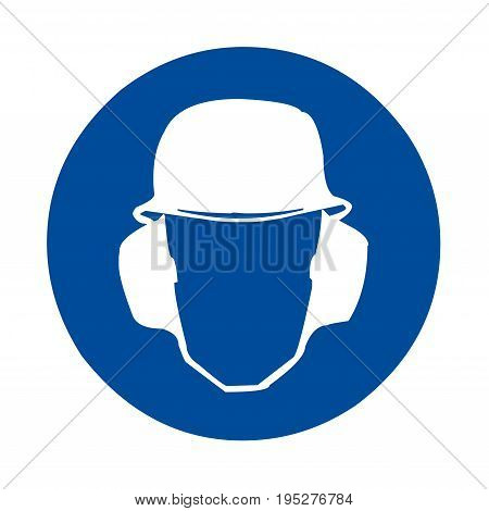 Safety sign head and ear protection with a white background