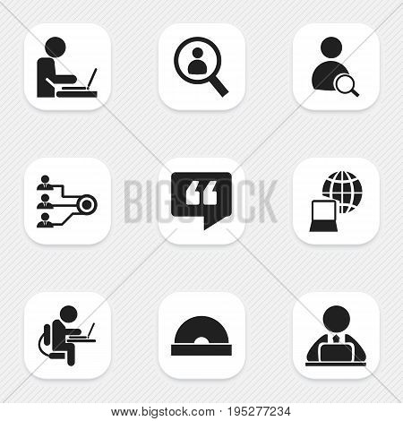 Set Of 9 Editable Bureau Icons. Includes Symbols Such As Magnifier, World, Comment And More. Can Be Used For Web, Mobile, UI And Infographic Design.