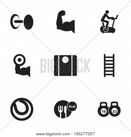 Set Of 9 Editable Active Icons. Includes Symbols Such As Biceps, Game Ball, Weightlifting And More. Can Be Used For Web, Mobile, UI And Infographic Design.