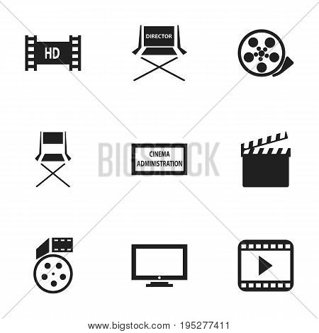 Set Of 9 Editable Filming Icons. Includes Symbols Such As Reel, Movie Player, Chair And More. Can Be Used For Web, Mobile, UI And Infographic Design.