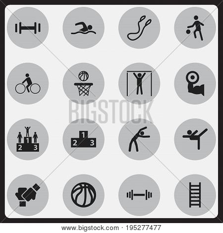 Set Of 16 Editable Healthy Icons. Includes Symbols Such As Heft, Heavy Training, Platform For Winner And More. Can Be Used For Web, Mobile, UI And Infographic Design.