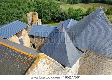 ST MESMIN, FRANCE - JULY 9, 2017: View of the roofs of St Mesmin Castle from the dungeon, Saint Andre sur Sevres, Deux Sevres