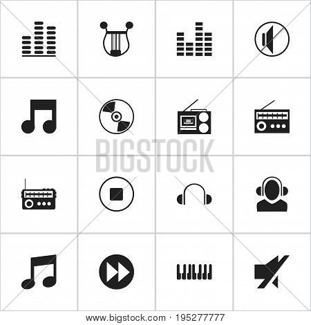 Set Of 16 Editable Media Icons. Includes Symbols Such As Break Music, Silent, Mute And More. Can Be Used For Web, Mobile, UI And Infographic Design.