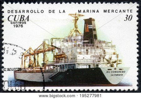 UKRAINE - CIRCA 2017: A postage stamp printed in Cuba shows ship Bulkcarrier XIII Congreso Development of the merchant marine from the eries Cuban Shipping circa 1976