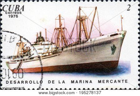 UKRAINE - CIRCA 2017: A postage stamp printed in Cuba shows ship Comandante Camillo Cienfuegos Development of the merchant marine from the series Cuban Shipping circa 1976