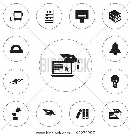 Set Of 12 Editable Teach Icons. Includes Symbols Such As Basketball, Arithmetic, Distance Learning And More. Can Be Used For Web, Mobile, UI And Infographic Design.