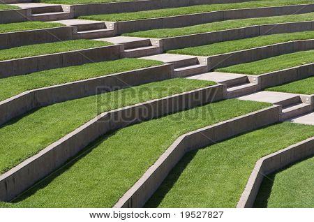 outdoor seating area - sunny grassy empty seats