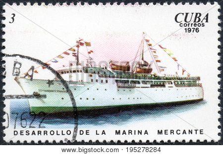 UKRAINE - CIRCA 2017: A postage stamp printed in Cuba shows ship Comandante Pinares Development of the merchant marine from the series Cuban Shipping circa 1976