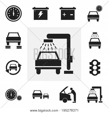 Set Of 12 Editable Transport Icons. Includes Symbols Such As Odometer, Tuning Auto, Race And More. Can Be Used For Web, Mobile, UI And Infographic Design.
