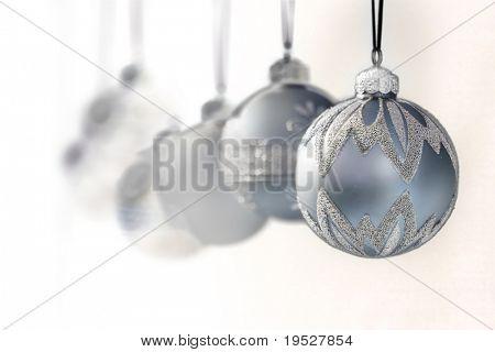 blue grey luxury christmas ornaments - focus on front ball - narrow DOF