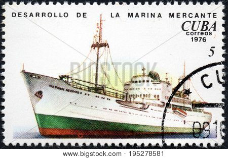 UKRAINE - CIRCA 2017: A postage stamp printed in Cuba shows ship Presidente Allende Development of the merchant marine from the series Cuban Shipping circa 1976