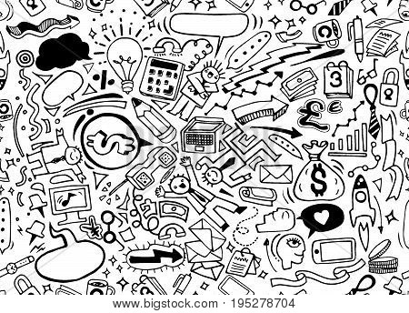 Vector Hand Drawn Business Idea doodles icons set.tDoodle styleseamless background doodle vector.
