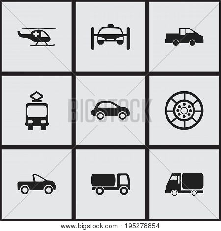 Set Of 9 Editable Transportation Icons. Includes Symbols Such As Washing Auto, Drophead Coupe, Emergency Copter And More. Can Be Used For Web, Mobile, UI And Infographic Design.