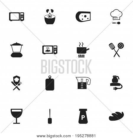 Set Of 16 Editable Cook Icons. Includes Symbols Such As Cuisine Tools, Chef Cap, Water Jug And More. Can Be Used For Web, Mobile, UI And Infographic Design.