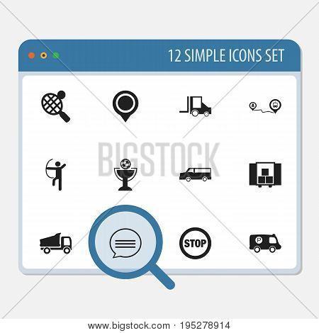 Set Of 12 Editable Mixed Icons. Includes Symbols Such As Auto, Truck, Goblet And More. Can Be Used For Web, Mobile, UI And Infographic Design.