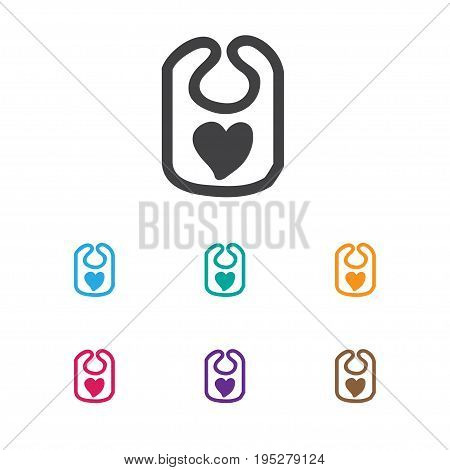 Vector Illustration Of Infant Symbol On Bib Icon. Premium Quality Isolated Pinafore Element In Trendy Flat Style.