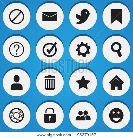 Set Of 16 Editable Web Icons. Includes Symbols Such As Network, Bookmark, Approved And More. Can Be Used For Web, Mobile, UI And Infographic Design.