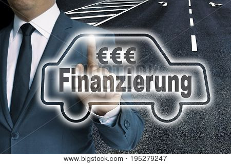 Finanzierung (in german Finance) car touchscreen is man-operated concept.